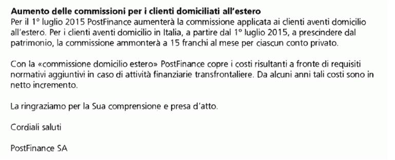 commissioni postfinance